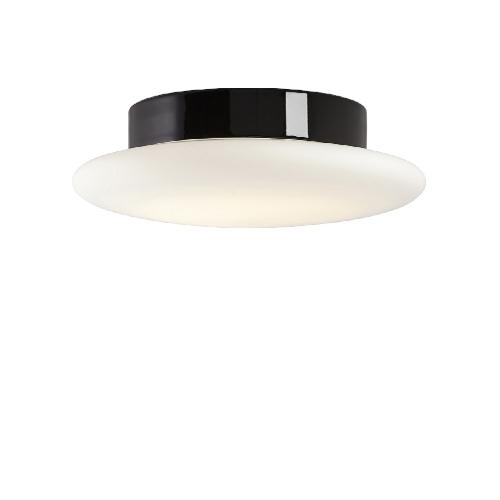 Moderne und sehr flache led badlampe mit glasschirm an
