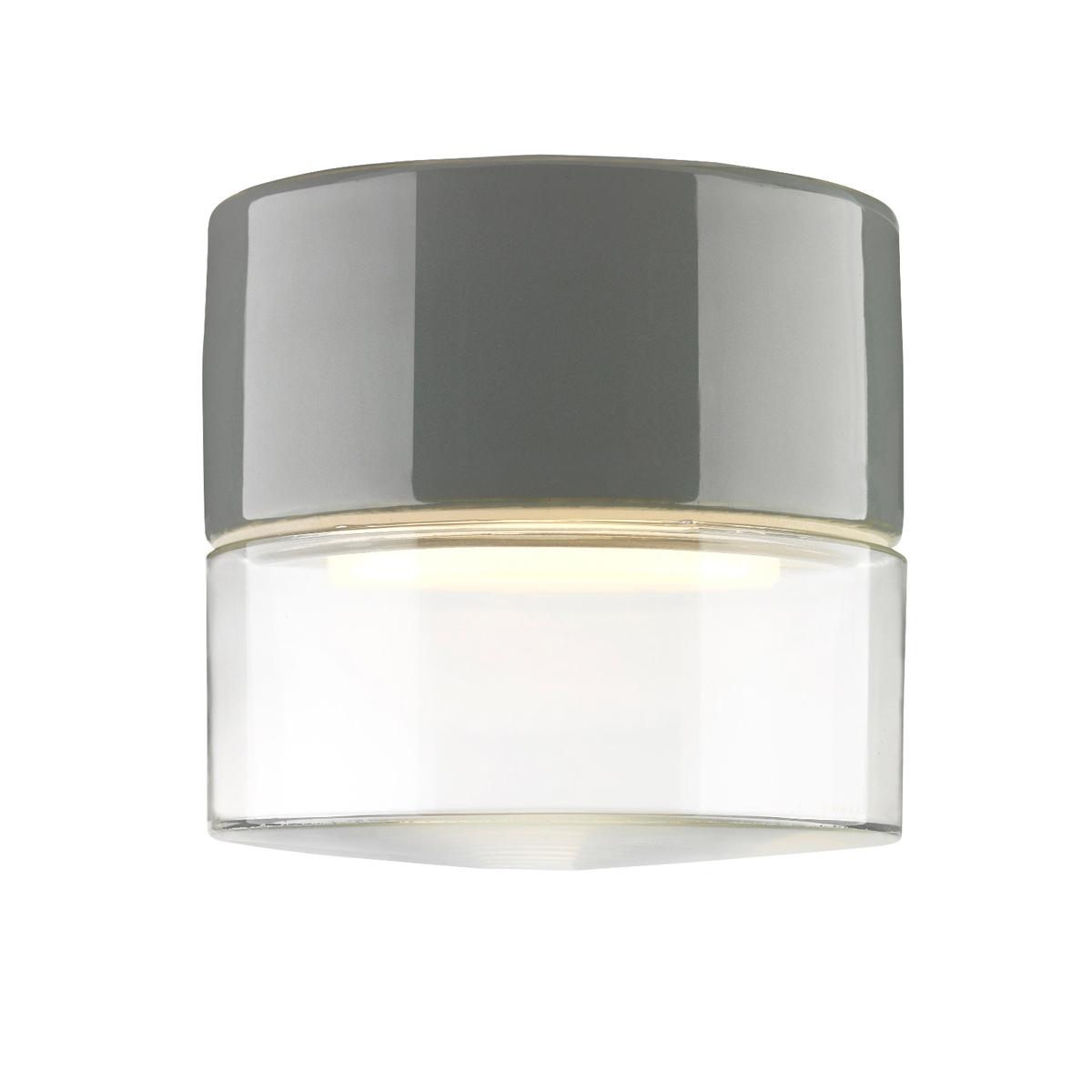 schlichte deckenleuchte mit glasschirm an einer keramikhalterung. Black Bedroom Furniture Sets. Home Design Ideas