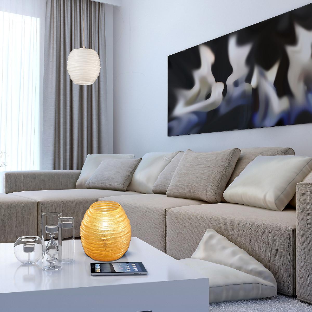 moderne glas pendelleuchte mit mundgeblasener muranoglaskugel. Black Bedroom Furniture Sets. Home Design Ideas