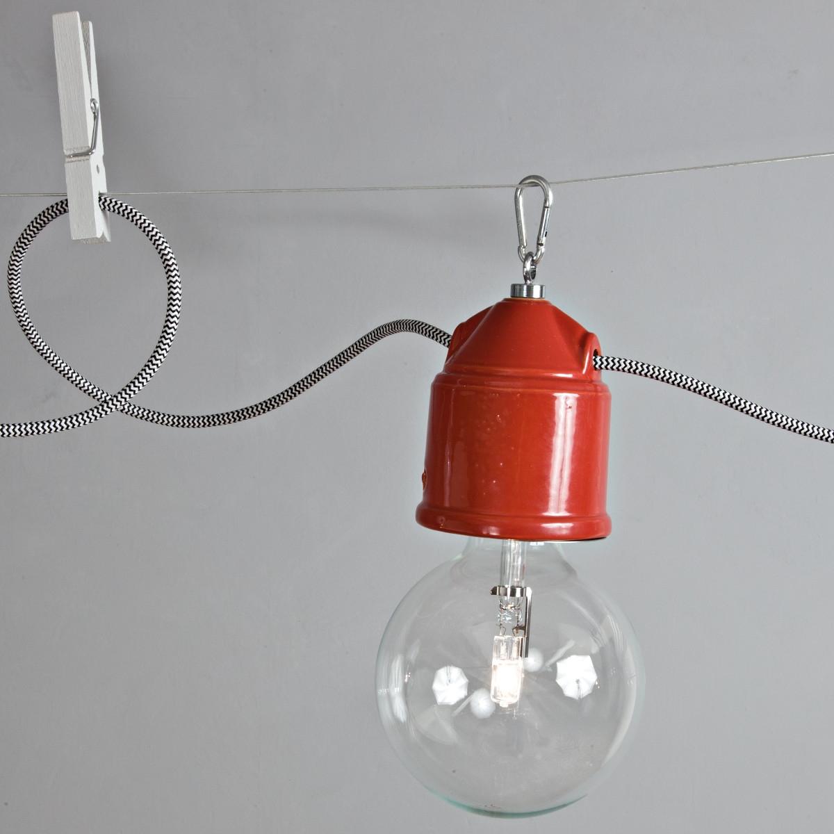 Mehrflammiges Seilsystem Mit Fassungsleuchten In Keramik Im