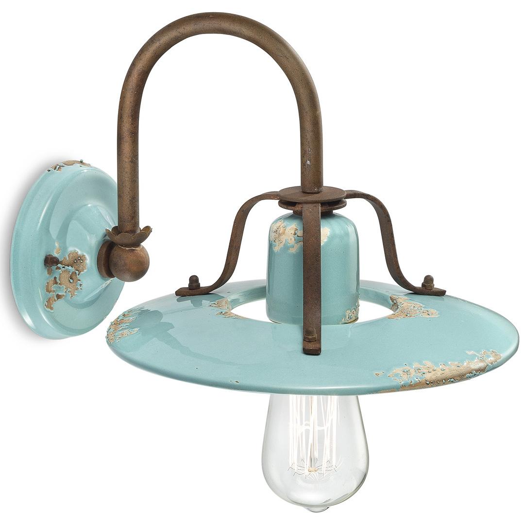 wandleuchte in klassicher form mit farbiger vintage glasur. Black Bedroom Furniture Sets. Home Design Ideas