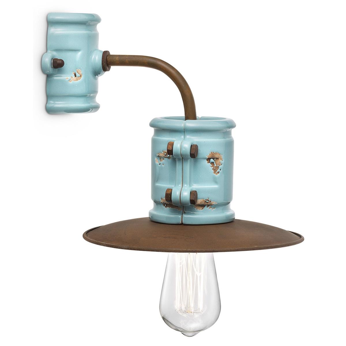 ausgefallene wandleuchte im industriestil in eisen rost und farbiger glasur. Black Bedroom Furniture Sets. Home Design Ideas