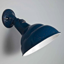 Wandspot in industriellem Design in Marineblau glasierte Keramik