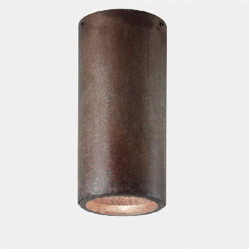 Zylinderförmiger Deckenspot in Messing natur, Durchmesser 6cm, mit GU10-Leuchtmittel