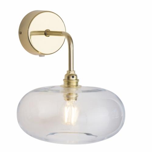 Wandlampe mit Klarglas und Gold-Halterung