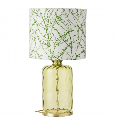 Glassockel aus olivefarbenem Glas, bestückt mit flachem Schirm mit grünem Print