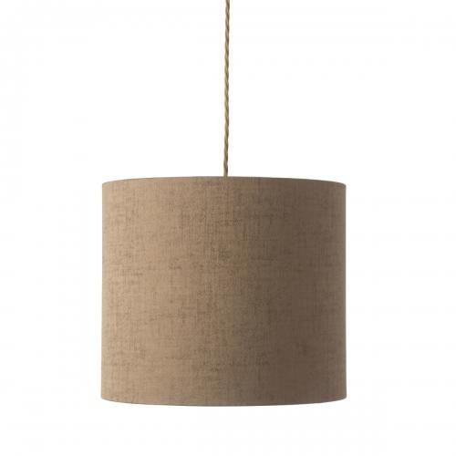 Pendelleuchte mit flachem Schirm, Farbton Bronze, gedrehtes Textilkabel Gold
