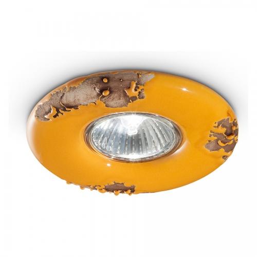 Einbauspot mit gelb glasierter Keramik in Vintage-Optik