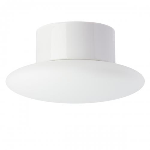 Deckenlampe in weißer Keramik mit mattem Opalglas