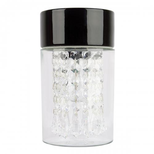 Badleuchte mit schwarzem Sockel und mit Kristallgehänge mit Spitzen