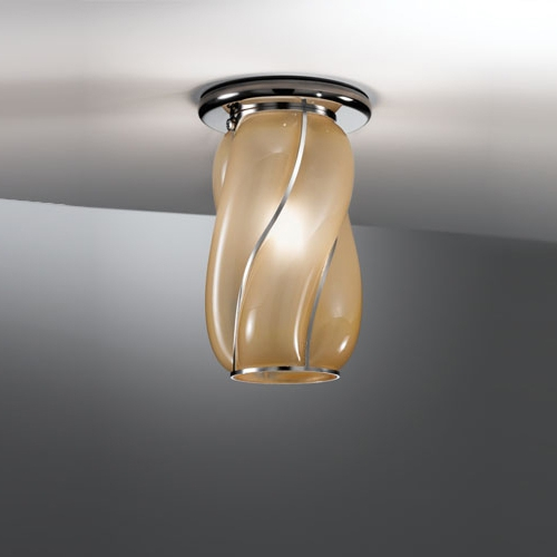 Elegante Deckenleuchte in ätzmattiertem, amberfarbene Muranoglas