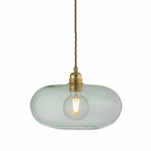 Vintage-Lampe mit waldgrünem Glas an Gold-Aufhängung, Durchmesser 29cm