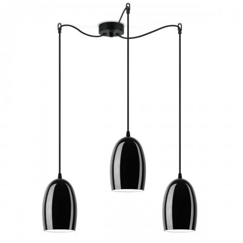 Dreiflammige Leuchte mit glänzenden schwarzen Schirmen, schwarze Aufhängung