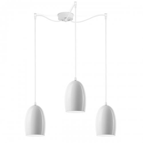 Dreiflammige Leuchte mit glänzenden weißen Schirmen, weiße Aufhängung