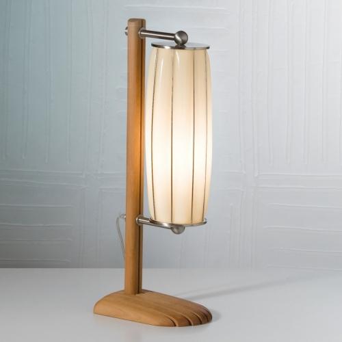 Edle Tischleuchte in Holz und Chrom mit Muranoglas von Sirluce