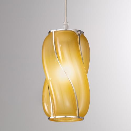 Design-Pendelleuchte mit ätzmattiertem Amberglasschirm