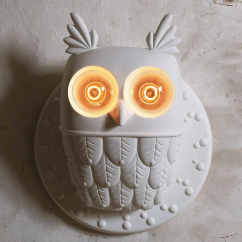 Extravagante Eulen-Lampe mit leuchtenden Augen