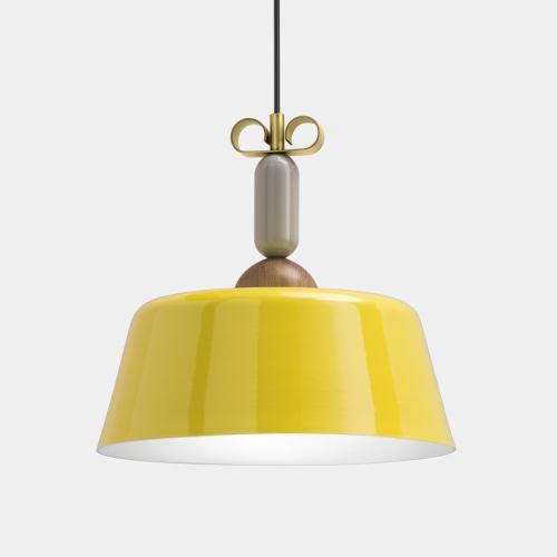 Design-Hängelampe mit Schirm in Gelb und Schleife in Messing