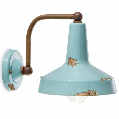 Wandlampe mit Schirm in azurblauer Keramik