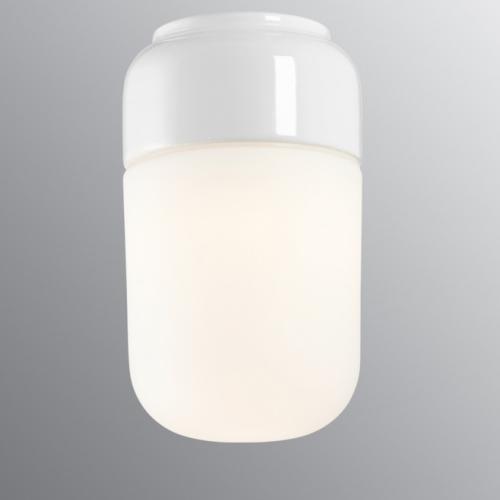 Wand- und Deckenlampe mit Sockel in weißer Keramik und mattem Glas