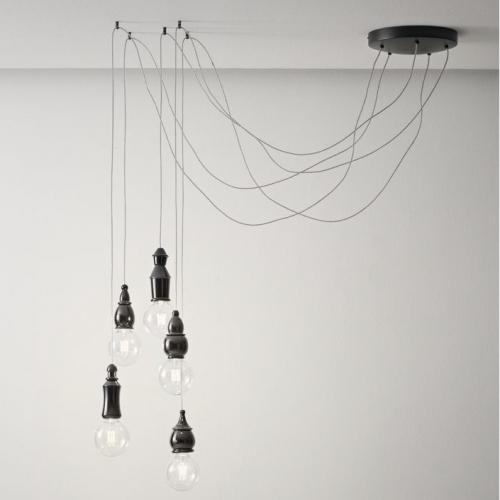 Hängeleuchte in Schwarz matt mit versetzter Abhängung mit Haken, fünf verschiedene Schirmmodelle