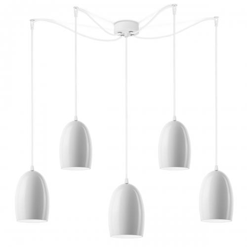 Fünfflammige Leuchte mit glänzenden weißen Schirmen, weiße Aufhängung
