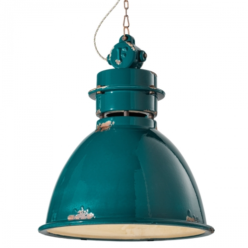 INDUSTRIAL Fabriklampe in Vintage-Optik, Keramik petrolgrün