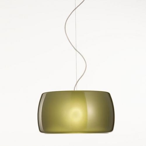 Moderne Pendelleuchte mit olivgrünem Glasschirm
