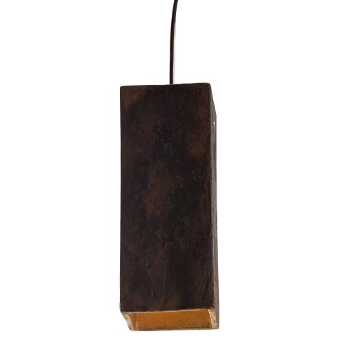Hängelampe in rostbrauner Keramik, innen Blattgold