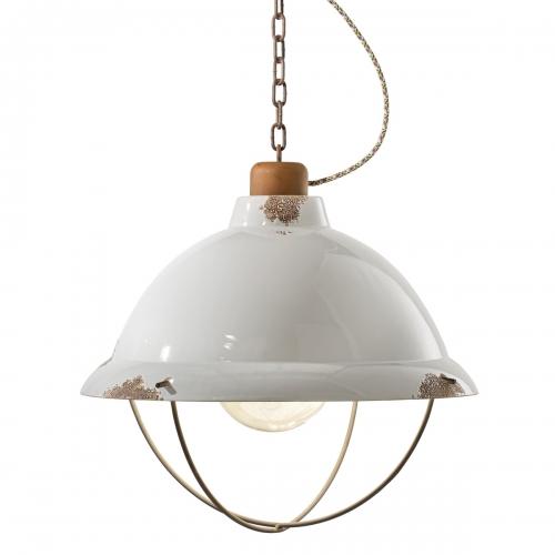 INDUSTRIAL Fabriklampe mit Gitterschirm, Keramik weiß