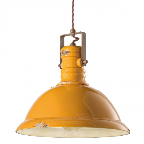 INDUSTRIAL Fabriklampe mit Gitterschirm, Keramik gelb