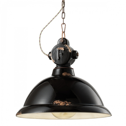 INDUSTRIAL große Fabriklampe in Vintage-Optik, Keramik schwarz