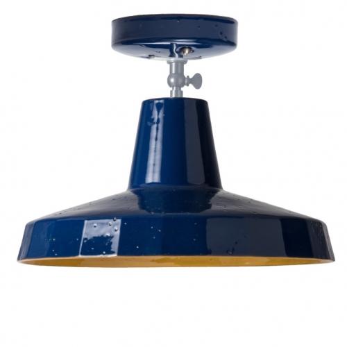 Kleines Modell der Deckenlampe in Marineblau und Mango-Gelb