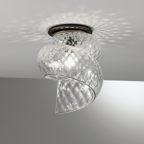 Italienische Deckenleuchte mit spiralförmigem Glasschirm