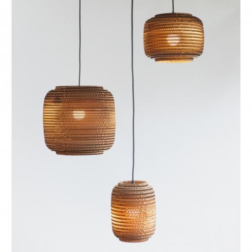 Kartonlampe in Laternenform in drei Größen