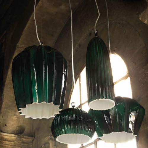 Keramik-Lampe in vier Formen in glänzendem Kupfergrün