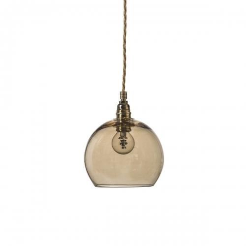Kugelleuchte mit Durchmesser 15,5cm, rauchiges Gold-Glas