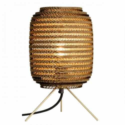 Tischlampe mit braunem Schirm