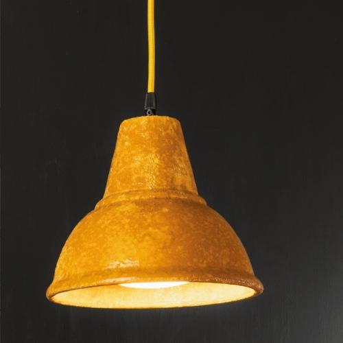 Keramik-Hängelampe, Keramikoberfläche Etruskisch Gelb