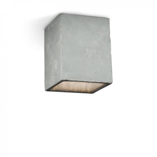 Deckenspot in steingrauer Keramik, innen Blattsilber