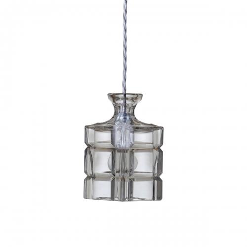 Kristallglas-Pendelleuchte mit eckigem Schirm an goldener Aufhängung