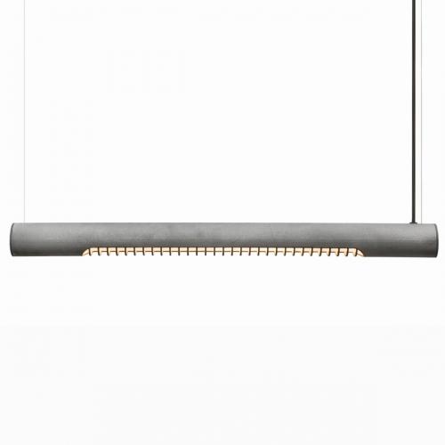 Horizontale Rohr-Hängelampe in Zink, kleines Modell