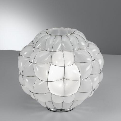 Tischleuchte in ätzmattiertem Kristallglas antik