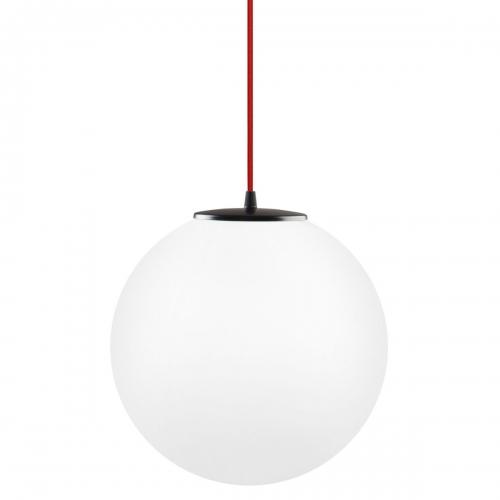 Kugelleuchte mit Durchmesser 25cm, mit rotem Kabel und schwarzer Halterung