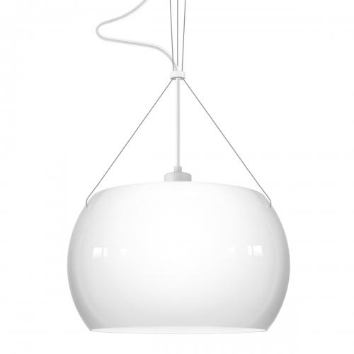 Glaspendelleuchte mit weiß glänzendem Schirm, weißer Halterung und weißem Textilkabel