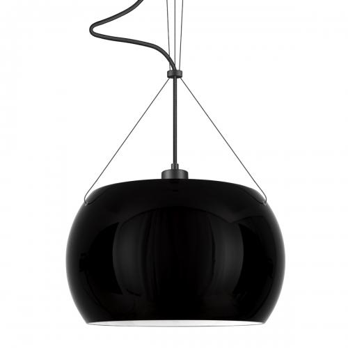 Glaspendelleuchte mit schwarz glänzendem Schirm