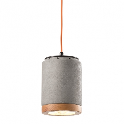 Design-Hängelampe in Zement-Optik mit Holzrand