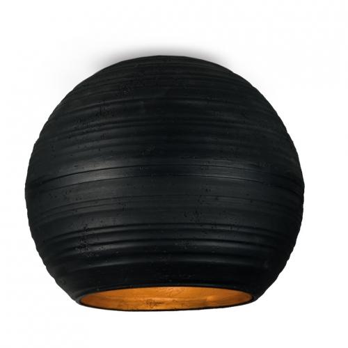 Kugelförmige Deckenleuchte in schwarzbrauner Keramik außen, innen Orange, D: 14cm
