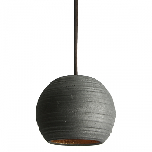 Kleine Kugel-Pendellampe in graphit-farbener Keramik, innen Blattgold