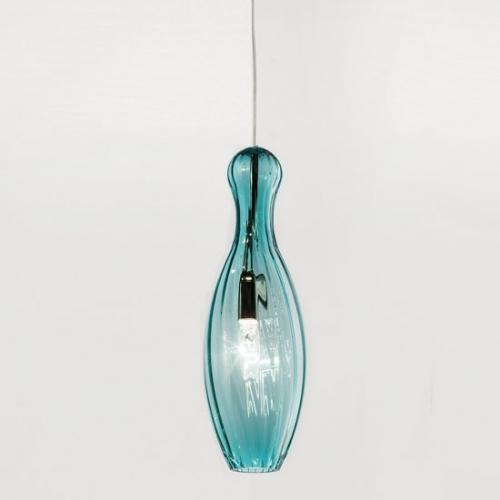 Pendelleuchte mit blaugrünem, gerilltem  Muranoglas-Schirm